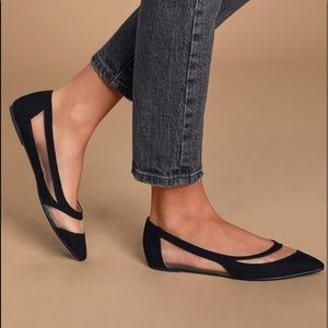 NIB Lulu's Elisabeth Black Suede Pointed Toe Flats